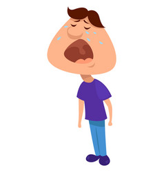 Crying boy on white background vector