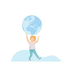 cute boy holding big terrestrial globe over his vector image