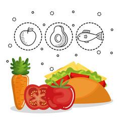 Delicious food menu icons vector