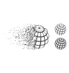 disintegrating dotted halftone abstract sphere vector image