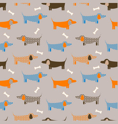Dog seamless taupe colored pattern vector