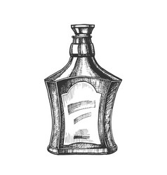 Drawn scotch bottle with style cork cap vector