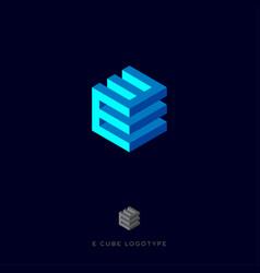 e cube blue logo vector image