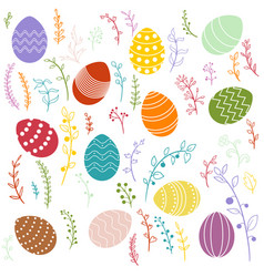 Easter eggs and floral elements vector