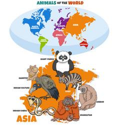 Educational cartoon asian animals and world map vector