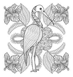 entangle hand drawn stork in hibiskus for adult vector image