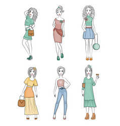 fashion girls characters cute female young vogue vector image