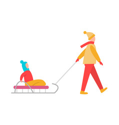 father carrying child sledge vector image