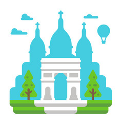 Flat design triumph arch paris vector