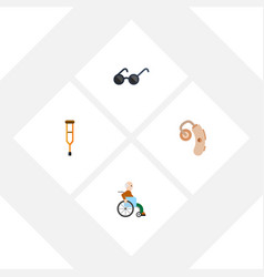 Flat icon cripple set audiology stand vector