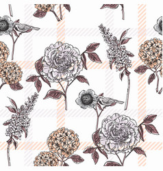 Floral seamless pattern with plaid background vector