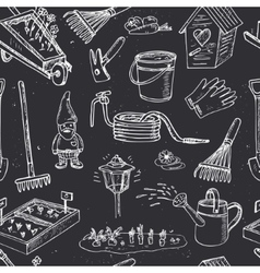Garden tools seamless pattern Various equipment vector image