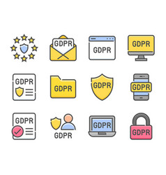 gdpr general data protection regulation set vector image