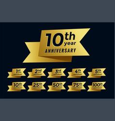 Golden ribbon anniversary emblem set vector