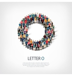 Group people shape letter O vector