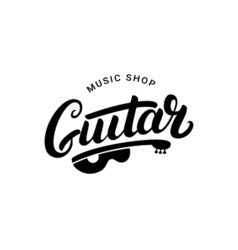 Guitar music shop hand written lettering logo vector