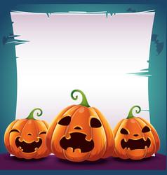 Halloween poster with realistic pumpkins on dark vector
