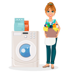 happy housewife cheerful mother vector image