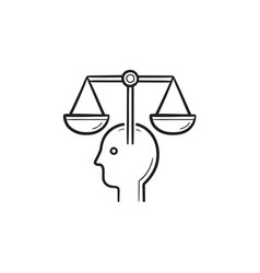 Head with law scales hand drawn outline doodle vector