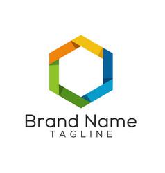Hexagon origami colorful logo template vector