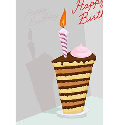 High cake Happy birthday postcard vector image