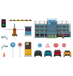 icon isolated flat conceptual parking set with vector image
