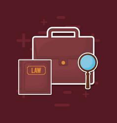 Law book and portfolio icon vector