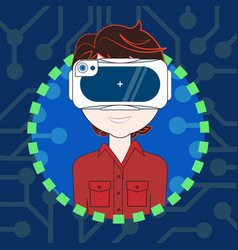 male wearing 3d virtual reality glasses avatar vector image