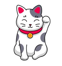 Maneki-neko cute kawaii cat for sticker badge vector