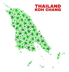 Marijuana leaves collage koh chang map vector