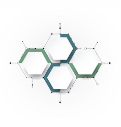 molecule with 3d paper label integrated hexagon vector image