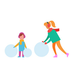Mom and child making snowman from huge snow balls vector