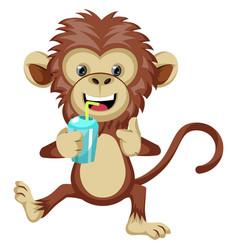 Monkey with soda on white background vector