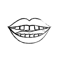 monochrome blurred silhouette of smiling mouth vector image