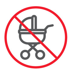 no baby carriage line icon prohibition vector image