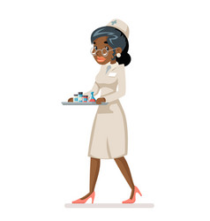 nurse doctor carries medicine tray in hands vector image