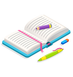 opened notebook pen pencil and rubber vector image
