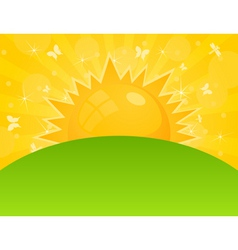 Orange sun ascends over a field a vector illustrat vector