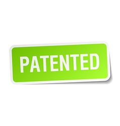 Patented green square sticker on white background vector