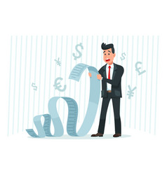 Pay big bill businessman holding long bill vector