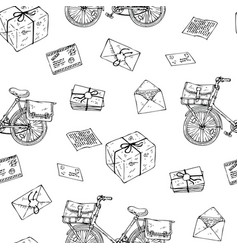 postal service seamless pattern vector image