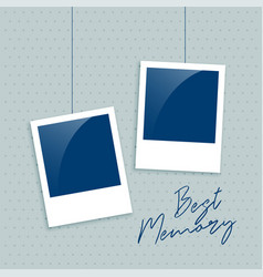 realistic empty photo frame for memory vector image