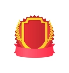 Red shield with ribbon and laurel icon vector