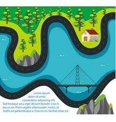 road map with house and forest vector image