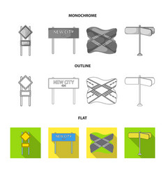 Road signs and other web icon in flatoutline vector