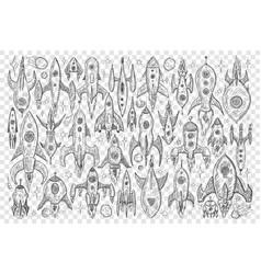 rockets during flight doodle set vector image