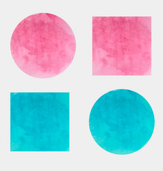 Round and square watercolor backgrounds vector