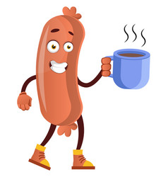 sausage with coffee on white background vector image
