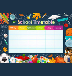 School week schedule timetable chalk sketch vector