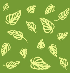 seamless pattern of yellow leaves monstera vector image